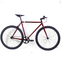 Golden Cycles Redrum Fixed Gear Bike Gloss Red Frame with Matte Black Deep V Rims