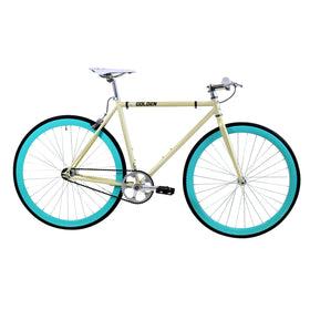 Golden Cycles Abigail Fixed Gear Bike Beige Frame with Celeste Deep V Rims, 48cm, OPEN BOX AS-IS