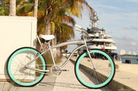 Loco Fixie FG Cruiser 26in The Aqua de Loco Silver Satin Grey Frame with Seafoam Green Deep-V rims