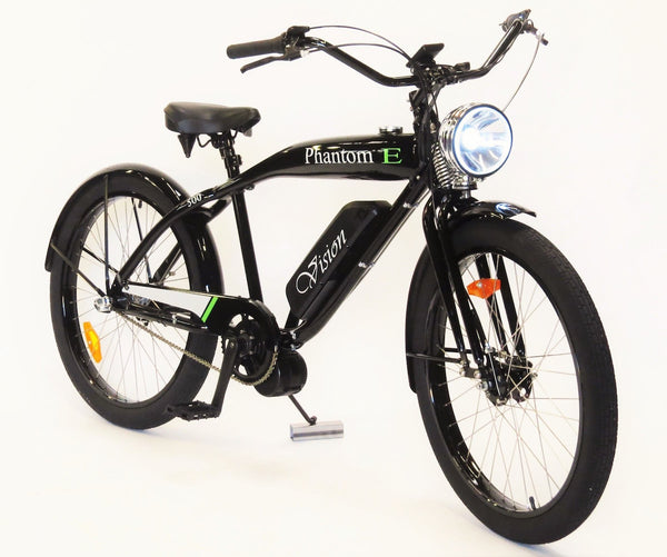 Phantom Bikes Electric Vision Classic Cruiser Electric Bicycle in Black, Red, and White