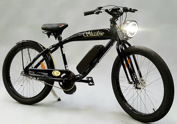 Phantom Bikes Electric Shadow Classic Cruiser Electric Bicycle in Black, Red, and White