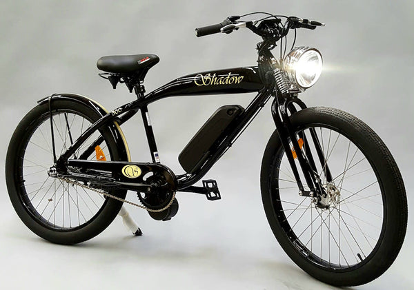 Phantom Bikes Electric Shadow Classic Cruiser Electric Bicycle Black