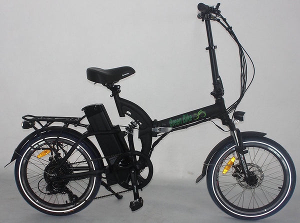 Green Bike USA GB500 Full Suspension Electric Bicycle, Electric Folding Bike - MATTE BLACK