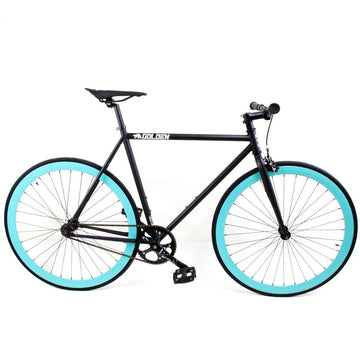 Golden Cycles Jackson Fixed Gear Bike Gloss Black Frame with Celestial Deep V Rims