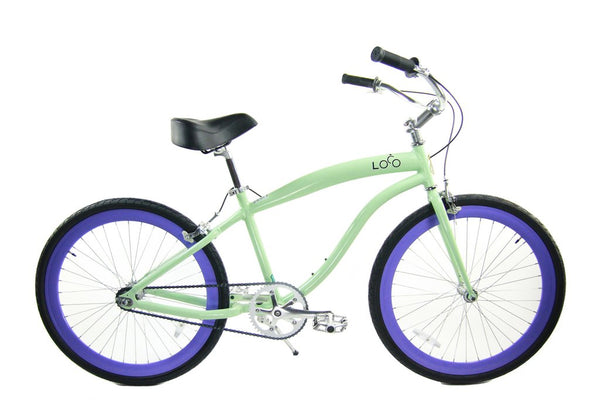Loco Fixie FG Cruiser 700c The Crush Mint frame with Lavender Deep-V rims