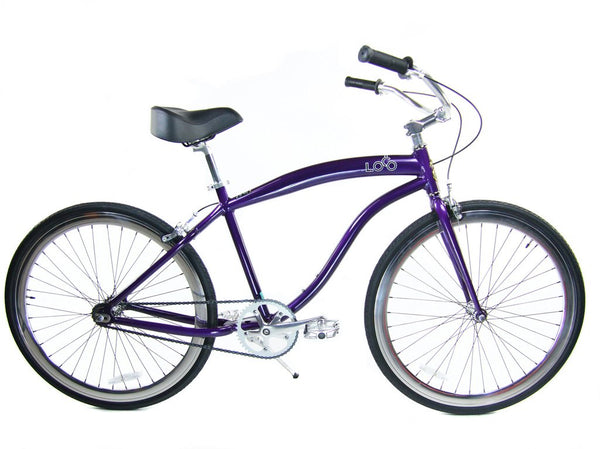 Loco Fixie FG Cruiser 700c The Morado Purple Frame with Polished Nickel Deep-V Rims