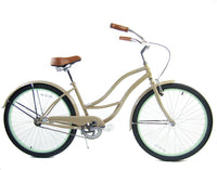 Loco Cycles The Mint Macciato Beach Cruiser Bicycle Nude Beige with Mint Green Rims