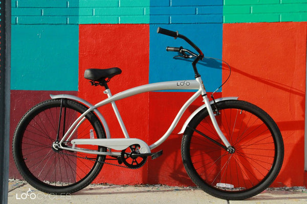 Loco Cycles The 925 Beach Cruiser Bicycle Silver with Gloss Black Rims