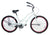 Loco Cycles The Madline Beach Cruiser Bicycle White with Fuchsia Rims