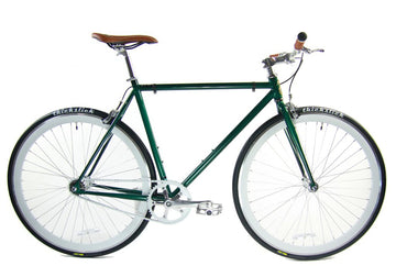 Loco Cycles Loco Fixie The Explorer Forest Green Frame with Off-White Rims Fixed Gear Bike