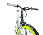 Loco Cycles Loco Fixie The Limelite Matte Grey Frame with Neon Green Rims Fixed Gear Bike
