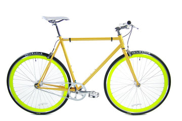 Loco Cycles Loco Fixie The Radiation Matte Orange Frame with Neon Green Rims Fixed Gear Bike