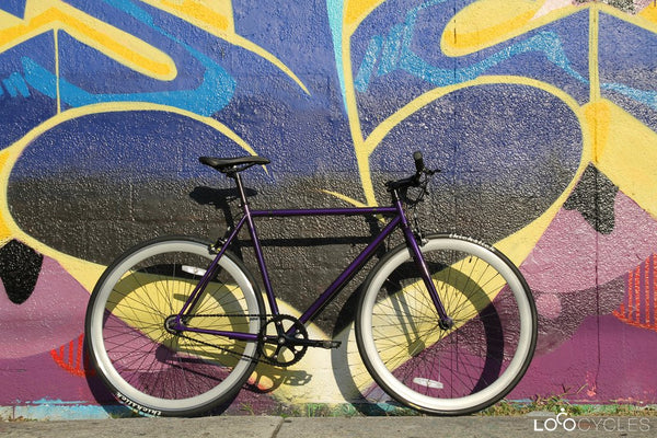 Loco Cycles Loco Fixie The Purplicious Purple Frame with Sky Grey Rims Fixed Gear Bike