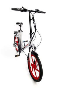 Ness Icon Electric Folding Bike WHITE with RED WHEELS angled