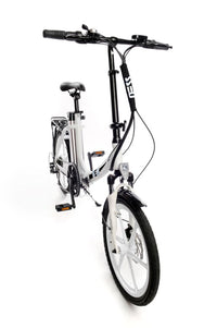 Ness Icon Electric Folding Bike WHITE with WHITE WHEELS angled