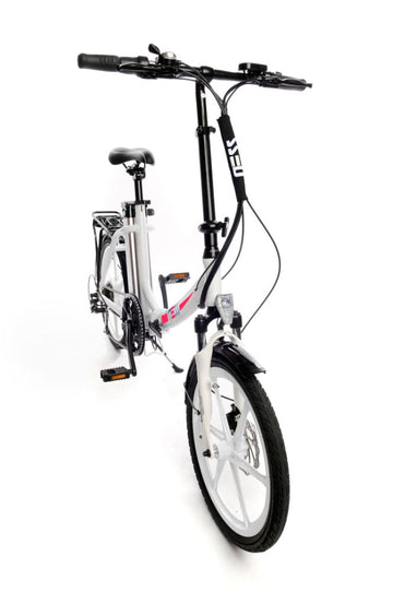 Ness Icon Electric Folding Bike WHITE with PINK LOGO and WHITE WHEELS