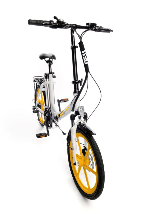 Ness Icon Electric Folding Bike WHITE with YELLOW WHEELS angled