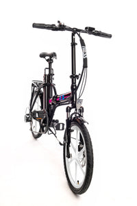 Ness Rua Electric Folding Bike BLACK with PINK LOGO and WHITE WHEELS angled