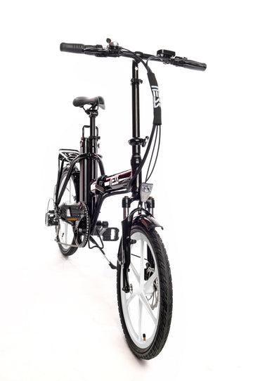 Ness Rua Electric Folding Bike BLACK with WHITE WHEELS