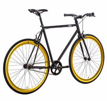 6KU Fixie Bike - Nebula-2 - Matte Black with Gold Deep V Rims, 52cm, OPEN BOX AS-IS