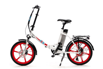 Ness Icon Electric Folding Bike WHITE with Color Wheels