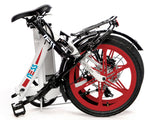 Folded Ness Icon Electric Folding Bike WHITE with RED WHEELS