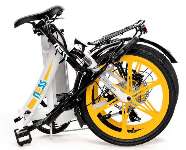 Folded Ness Icon Electric Folding Bike WHITE with YELLOW WHEELS