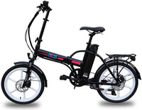Ness Rua Electric Folding Bike BLACK with PINK LOGO and WHITE WHEELS