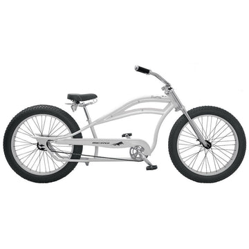 Micargi Seattle Chopper Stretch Beach Cruiser Bicycle Fat Tire Bike White