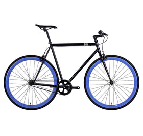 6KU Fixie Bike, Shelby-4, 49cm, Gloss Black with Blue Deep V Rims, OPEN BOX AS-IS