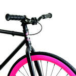Golden Cycles Sugar Coat Fixed Gear Bike Gloss Black Frame with Bright Pink Deep V Rims