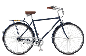 Viva Papa 7 B.52 City Cruiser Bicycle with Rear Light - Blue