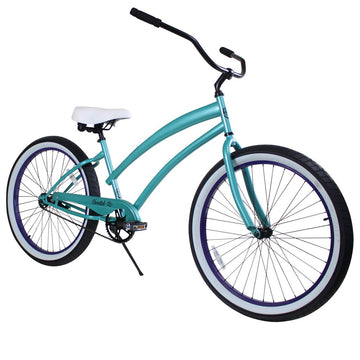 "Zycle Fix 26"" Cheetah Beach Cruiser Single-Speed Bike Aqua"