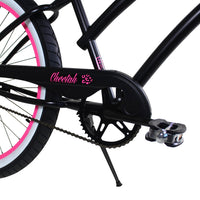 "Zycle Fix 26"" Cheetah Beach Cruiser Single-Speed Bike Black / Pink"
