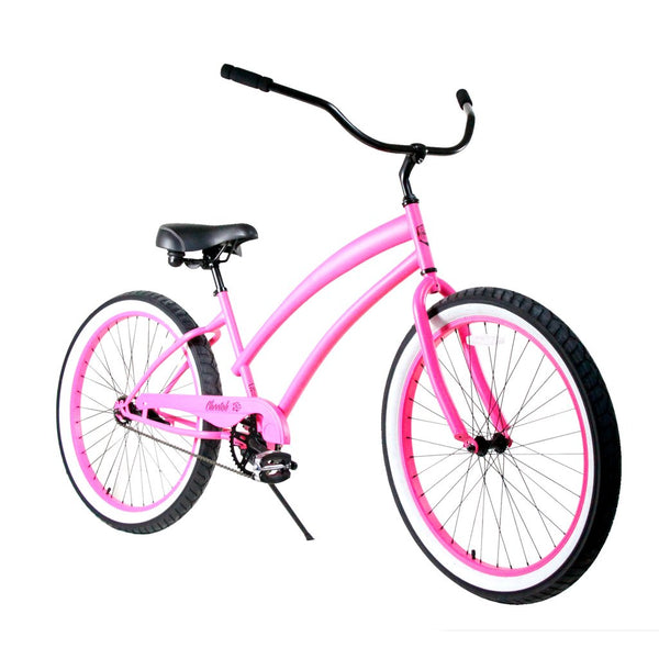 "Zycle Fix 26"" Cheetah Beach Cruiser Single-Speed Bike Pink"