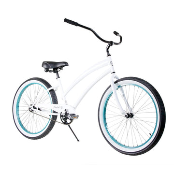 "Zycle Fix 26"" Cheetah Beach Cruiser Single-Speed Bike Pearly White"