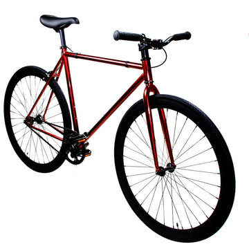 Zycle Fix Fixed Gear Bike Heat Polished Red Fixie with Matte Black Rims