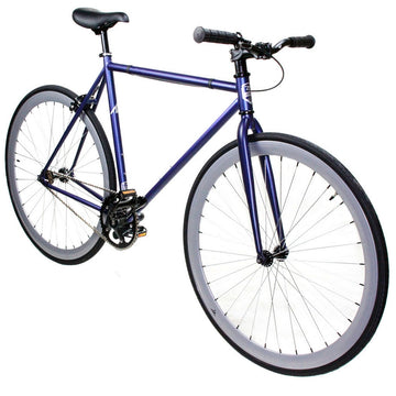 Zycle Fix Fixed Gear Bike Navy Fixie with Gloss Grey Rims