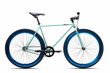 6KUNew Teal Fixies Bikes with Anodized Blue Deep V Fixie Rims