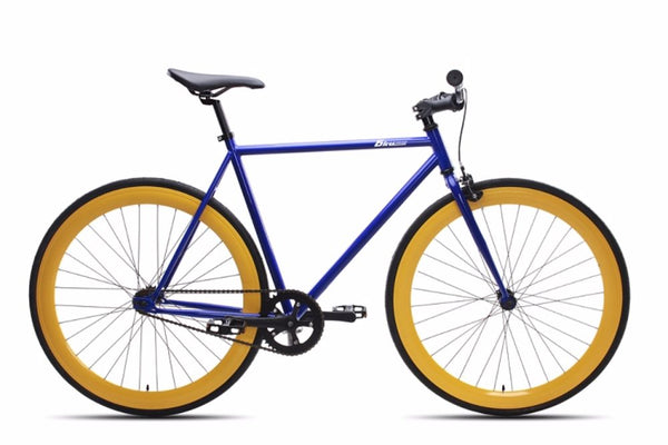 6KUNew Blue Fixies Bikes with Yellow Deep V Fixie Rims