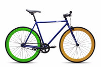 6KUNew Blue Fixies Bikes with Green and Yellow Deep V Fixie Rims