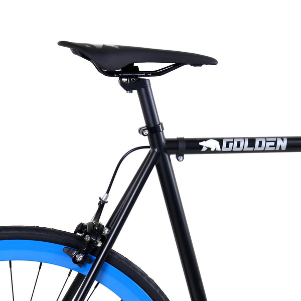 Golden Cycles Magic Fixed Gear Bike Matte Black Frame with Blue Deep V Rims
