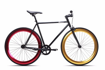 Black 6KU Fixie Bike with Gold and Red Rims