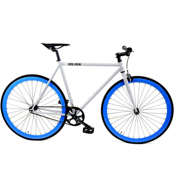 Golden Cycles Hammer Fixed Gear Bike Gloss Grey Frame with Blue Deep V Rims