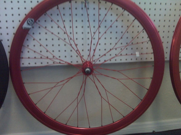 Origin 8 Rims in Red Twisted Spokes 700C Wheelset / Super Deep V