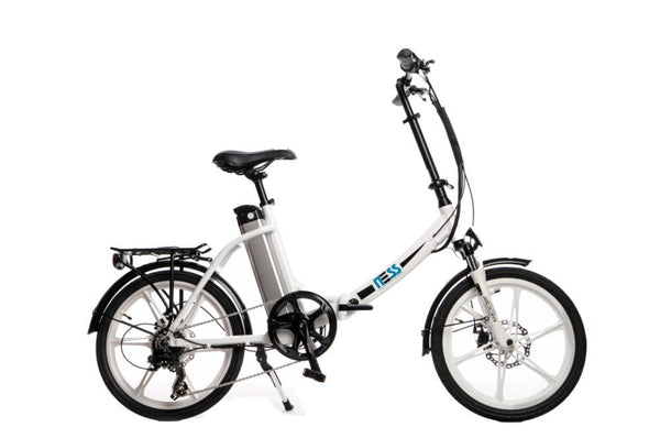 Ness Icon Electric Folding Bike WHITE with WHITE WHEELS