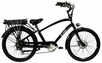E-lux Newport Step Over Electric Beach Cruiser Bike Black