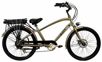 E-lux Newport Step Over Electric Beach Cruiser Bike Gun Metal