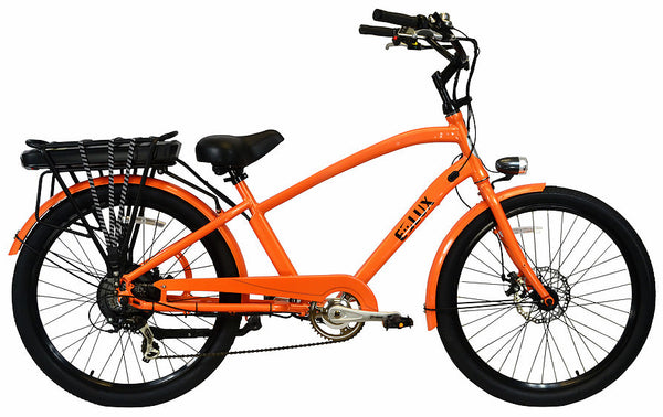 E-lux Newport Step Over Electric Beach Cruiser Bike Orange