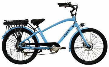 E-lux Newport Step Over Electric Beach Cruiser Bike Powder Blue
